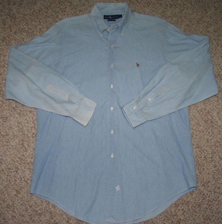 Ralph Lauren Polo Dress Shirt Blue Cotton Large Mens Choice Men Solid Button Up  #RalphLauren #ButtonFront