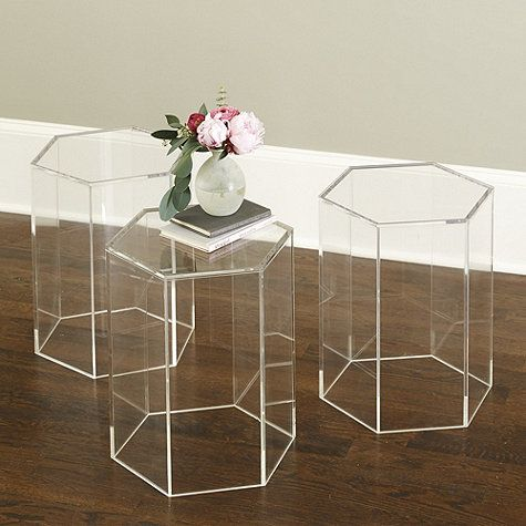 Ballard Designs.  Acrylic Hexagon Side Table.  Maybe I can use this as a side table for my freestanding bathtub?