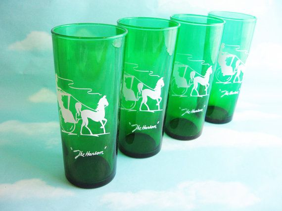 Emerald Green Drinking Glasses The Hansom by RoseArborVintage