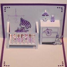 Carte pop up naissance - félicitation violette