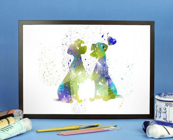Pongo and Perdita , 101 Dalmatians Disney fan Art, Watercolor alternative poster, Watercolor Art, Nursery Print, Nursery Wall Art,