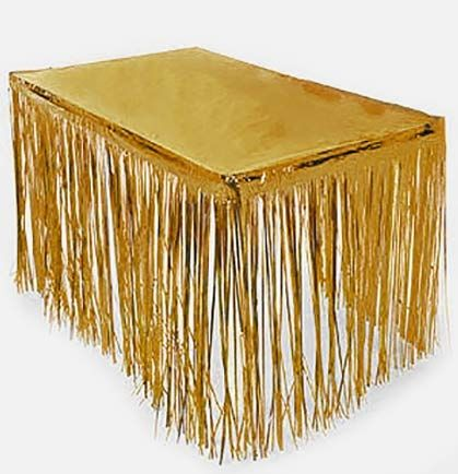 Fringe Gold Table Skirt Bachelorette Party DecorationsParties