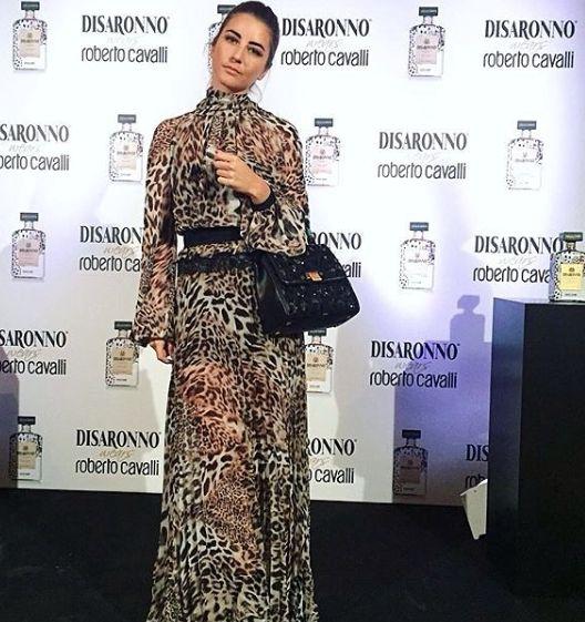 "Sophia Salaroli wearing Mangano dress ""Idsten maculato"" during #disaronnowearscavalli gala dinner in Rome >> available on our Shop online"