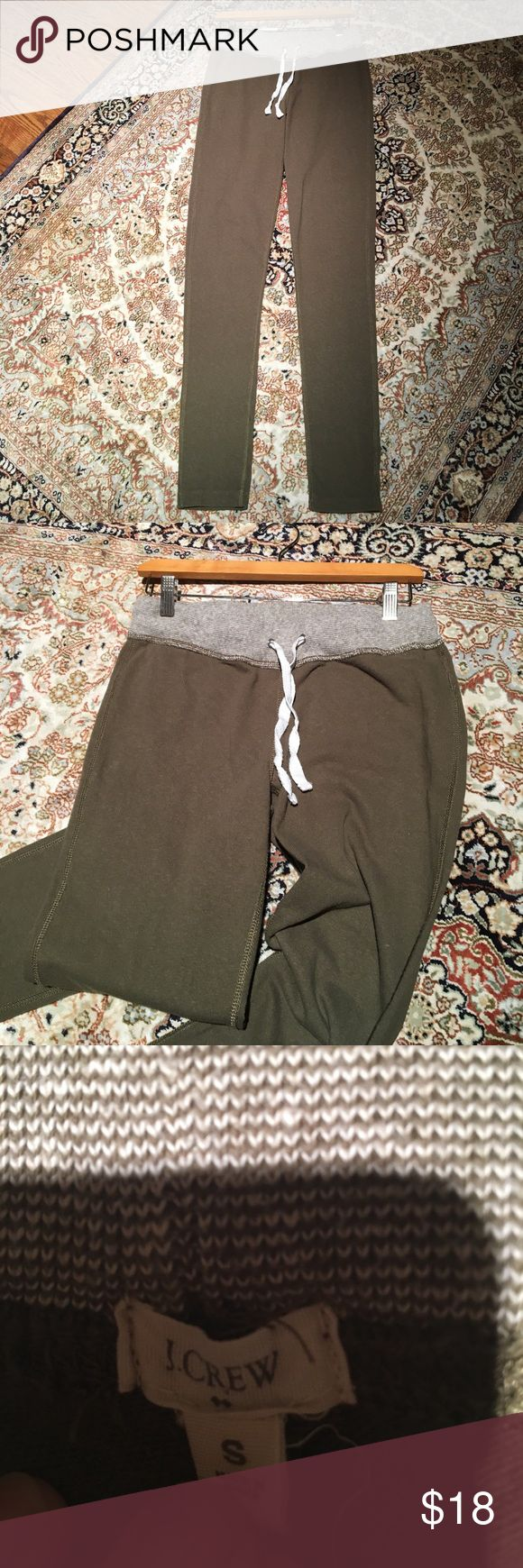 J. Crew Pants Olive green J. Crew ankle sweat pants. Sz. S. EUC.  So soft you could sleep in these.  Stretch waist with tie front. Two back pockets. J. Crew Pants Ankle & Cropped