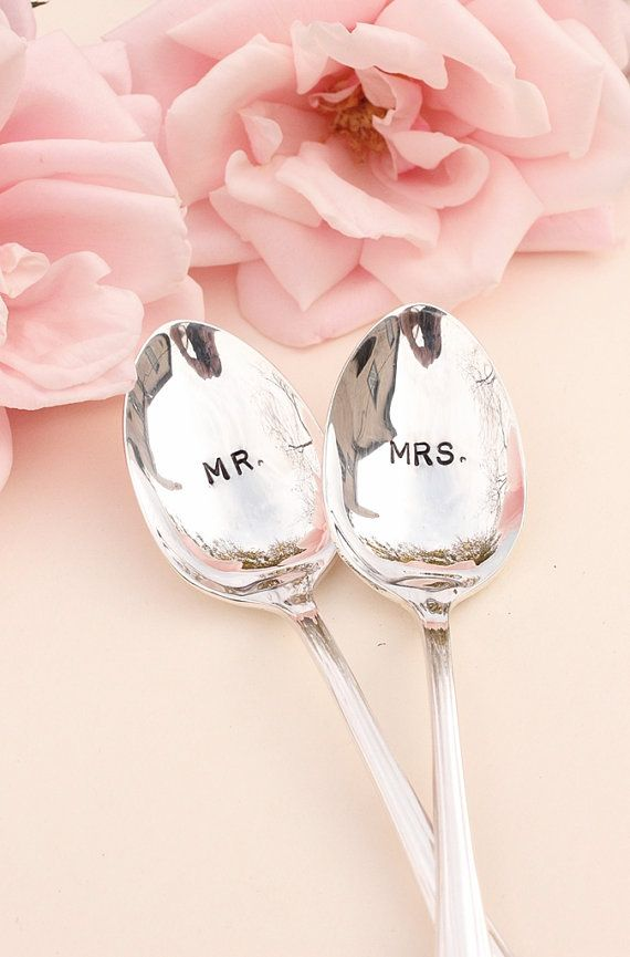 Mr. Mrs. Spoons: Hand Stamped Wedding Silverware Coffee Spoons Silver Plated 1985 Enchantment New