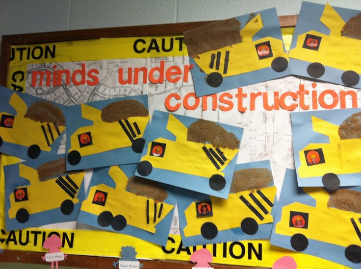 I love the addition of real dirt glued on to complement a construction themed classroom. :) Pinned by Jodi from The Clutter-Free Classroom {www.CFClassroom.com}