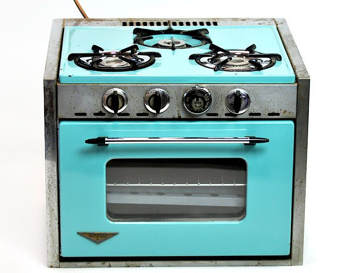 345 Vintage Retro Holiday RV Camper Trailer 3 Burner Gas Stove Oven Window Turquoise #Holiday