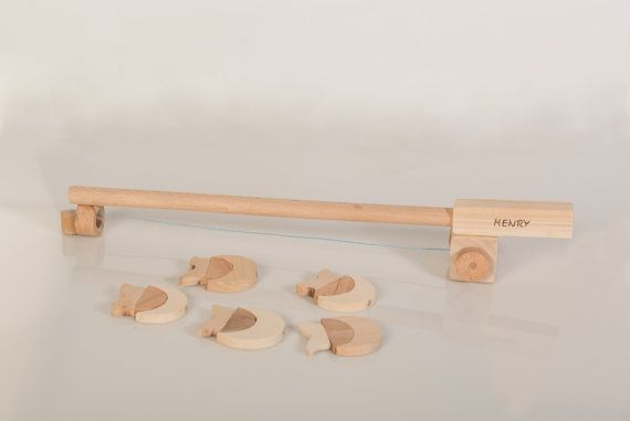 Personalized Wooden Fishing Game  Wooden Toy  Fishing by beigebois