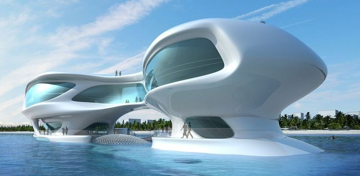 Futuristic floating islands in concrete shell technology, the new interference free space for business development on the ultimate frontier. http://yook3.com, Wilfried Ellmer