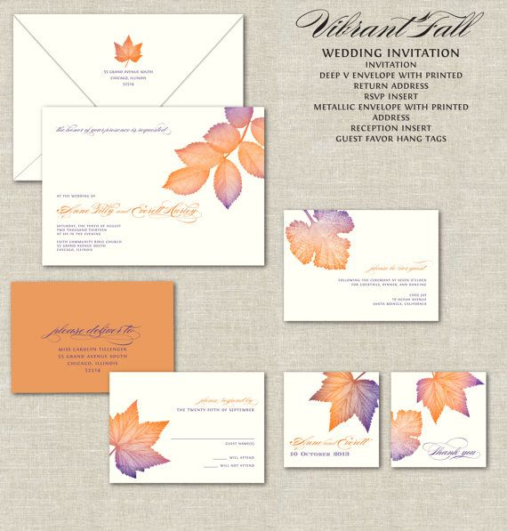 Vibrant Fall Wedding Invitations, Calligraphy Wedding Invitation, Wedding Invites, Purple and Burnt Orange Flame, Autumn, Colorul Leaves