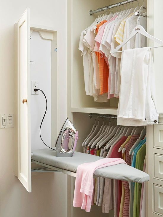 Features: Built-In Ironing Board - Cut down on your ironing time with an ironing board that's always read to go. Hang a wall-mount ironing board near an outlet and store the iron nearby. Simply fold down the board when you're ready to iron. There are also ironing board cabinets that can be recessed into a wall. Learn how to install one with the video below.