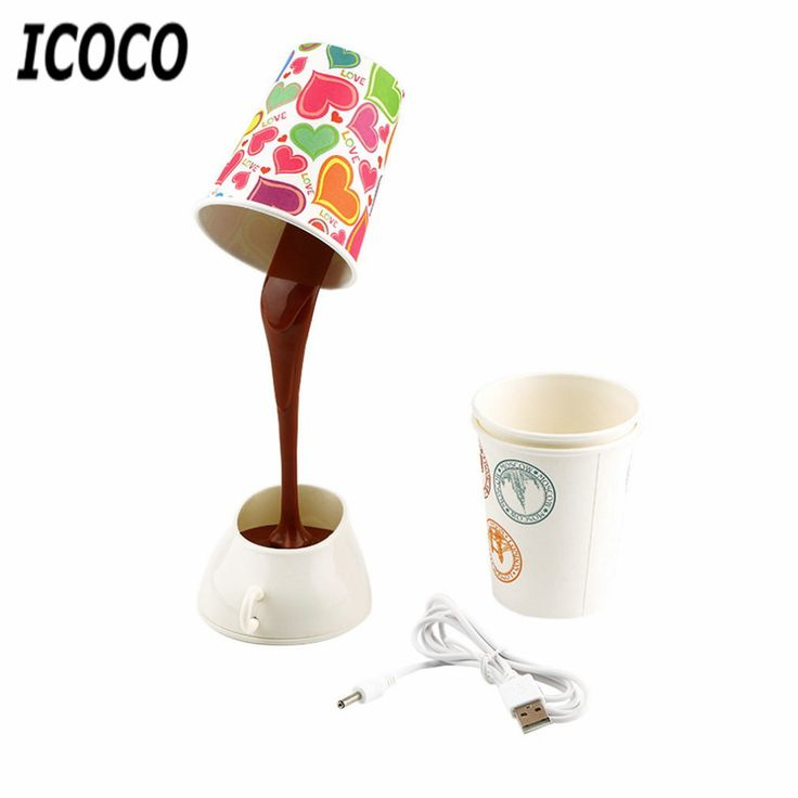 Home Creative DIY Coffee Cup LED Down Night Lamp Home USB Battery Pouring Coffee Table Light for Study Room Bedroom Decoration #Affiliate