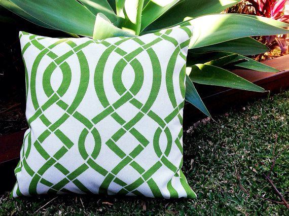 Designer Outdoor Cushions Green Modern Outdoor Pillows by IslandHomeEmporium, $22.00