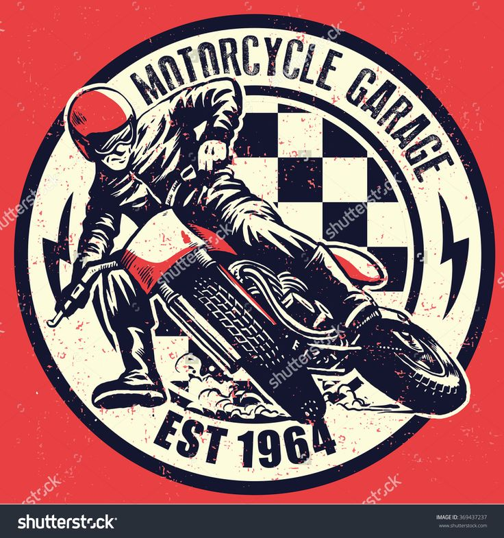 Vintage Motorcycle Garage Design, Texture Is Easy To Remove Stock ...