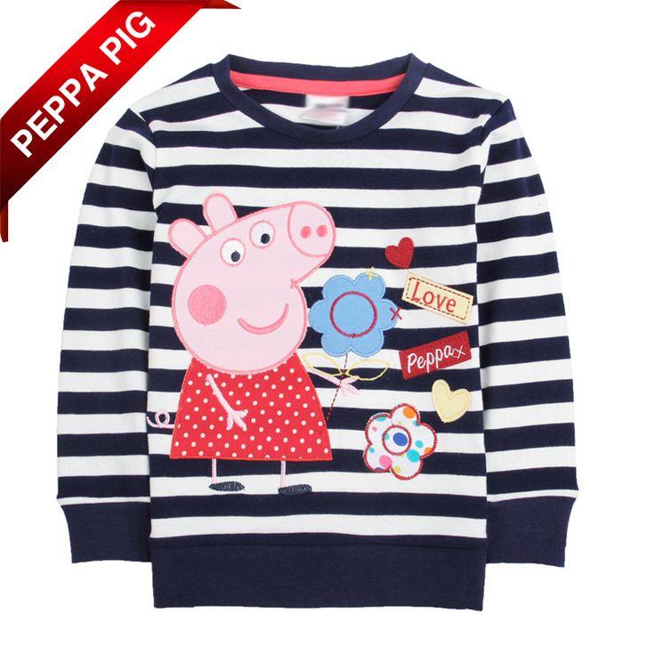 Varejo Um PCS! Frete Grátis 2014 Nova moda infantil roupa do bebê Peppa Pig Roupas Meninas dos desenhos animados Camiseta Listrada 7260 US $10.28