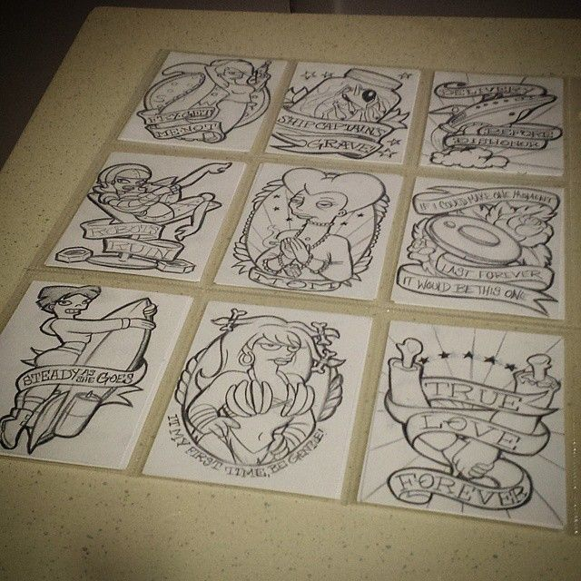 First set of 9 cards done. Starting on set 2 tomorrow. So many characters and fun little jokes I'm not sure which idea to do next. #futurama #nerdalert #nerdlife #geeklife #geekink #tattooedartist #nikkiforteart #steadyasshegoes