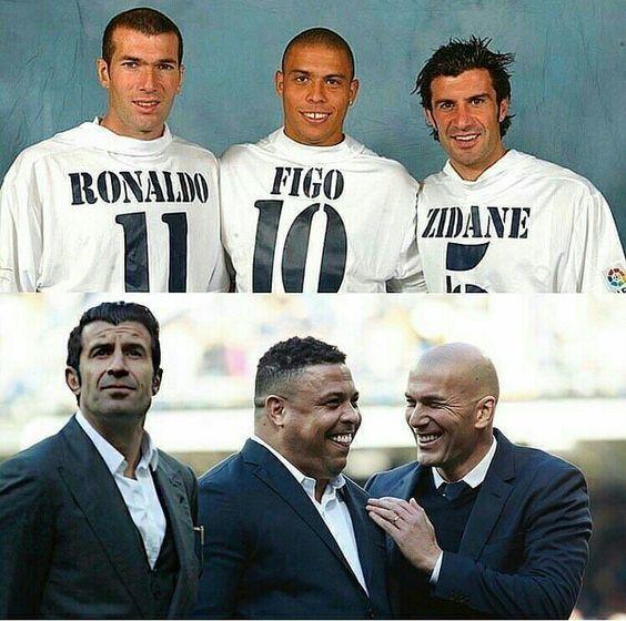 Luis Figo, Ronaldo, Zinedine Zidane kiedyś i dziś w Realu Madryt • W sumie niewiele się zmienili, no może oprócz Ronaldo • Zobacz #ronaldo #figo #zidane #pilkanozna #futbol #sport #sports #soccer #real #realmadrid #football