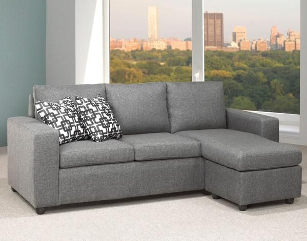 Sofa Sectional - Linen-Style Fabric - Charcoal Graphite - PAYLESS FURNITURE