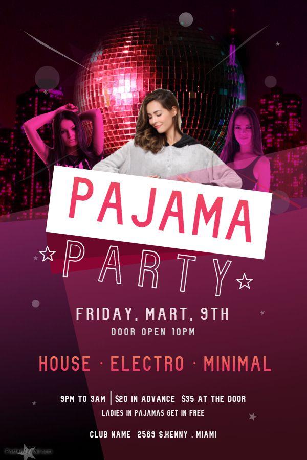 Neon Deluxe Pajama Party Flyer Artwork Custom Template