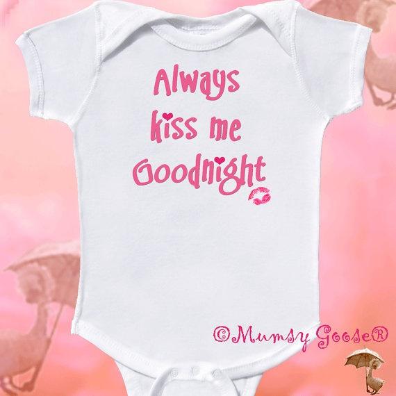 Cute Baby Girl Onesie Always Kiss me Onesie Infant by MumsyGoose, $14.95