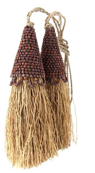 Vetiver Tassels with Beads - Set of 2
