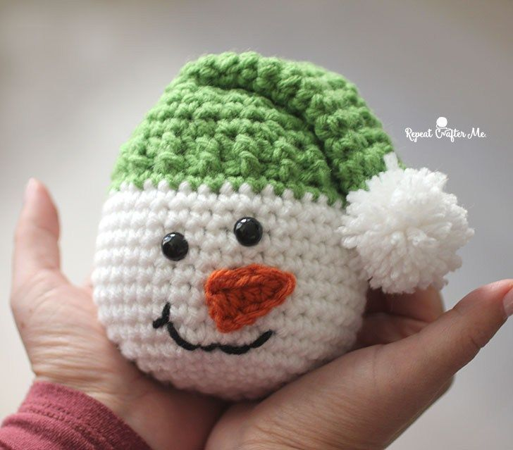 Crochet Snowman Heads Repeat Crafter Me Crochet Snowman Christmas Crochet Patterns Crochet Xmas