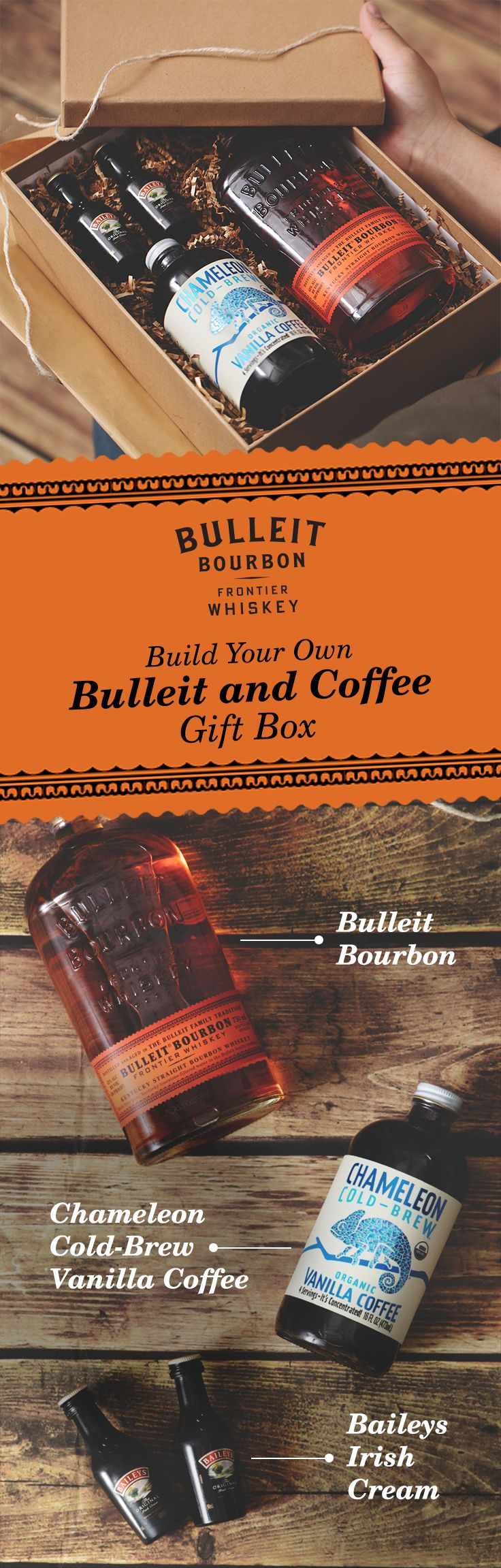 "Give your friend the gift of Bulleit Bourbon and the means to mix it. Whether for a birthday, holiday, graduation, or anniversary—this 'Build Your Own: Bulleit and Coffee Gift Box"" is perfect for any occasion. With Chameleon Cold-Brew Organic Vanilla Coffee, Bulleit Bourbon, and Baileys Original Irish Cream, this is a delicious and creamy drink for the whiskey lover in your life. Head over to the Chameleon Coffee and Baileys websites for purchase."