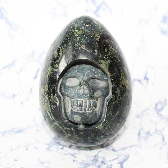 Kambaba Jasper Egg Crystal Skull Carved Crystal Egg with