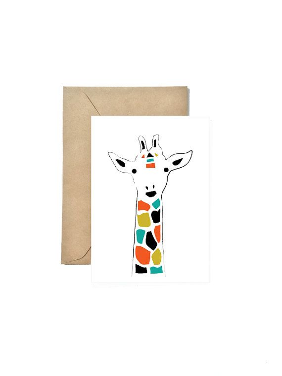 Jirafa gracias cabeza, tarjeta de felicitación, tarjeta, tarjeta de cumpleaños, caja de tarjeta boda, Animal Print, tarjeta de San Valentín, regalo de la Dama de honor