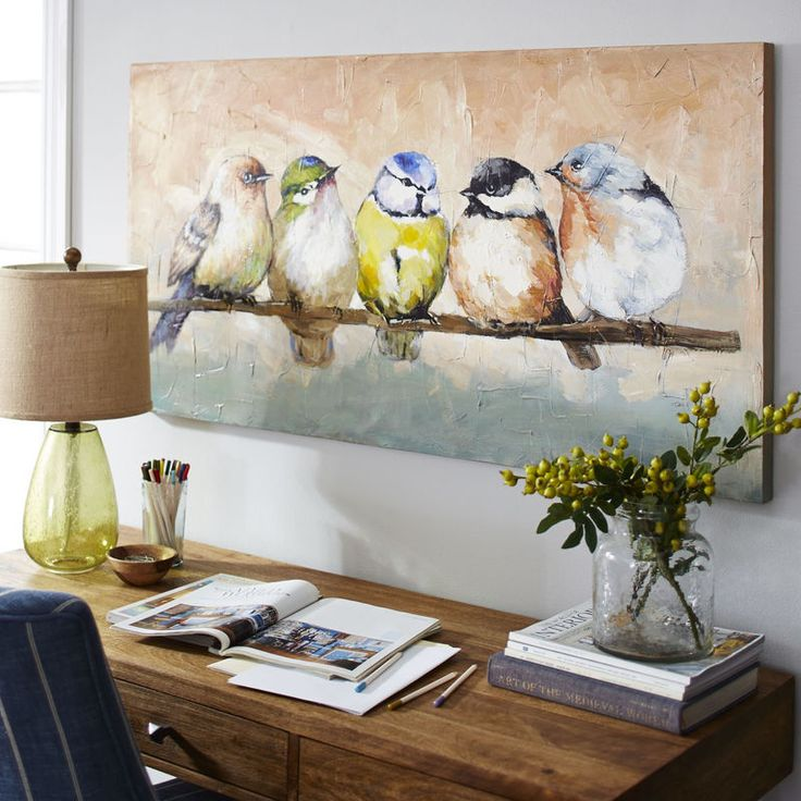 Hand-painted on canvas, a group of plump and colorful birds gather on a branch t…