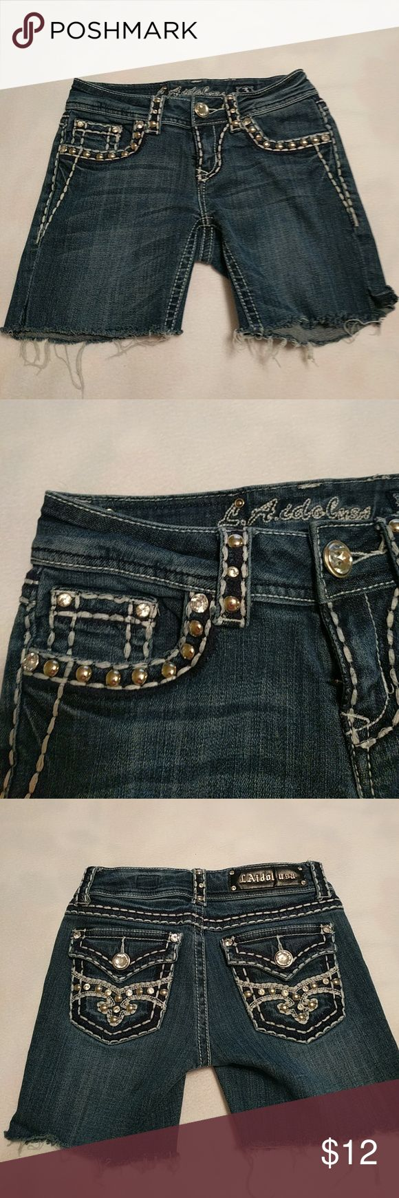 LAidol usa jean shorts These have silver studs and Diamond Stones and are full of bling. LAidol usa Shorts Jean Shorts