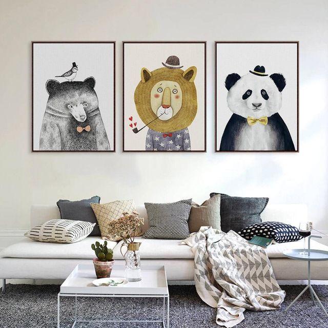 Tríptico de la Acuarela Nordic Animal León Oso Panda A4 Impresiones Del Arte Poster Inconformista Cuadro de la Pared Pintura de la Lona Para Niños Sala de Decoración Para El Hogar