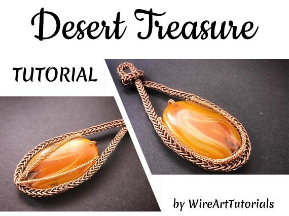 TUTORIAL PDF Desert Treasure 2 side pendant wire wrapped project,wrap weave jewelry,copper,wrapping weaving,weaved,cabochon jewellery, guide