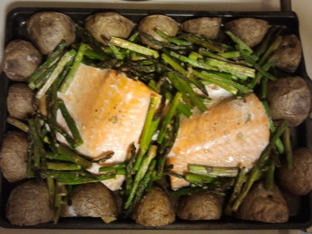 Oven-Roasted Salmon, Asparagus And New Potatoes Recipe — Dishmaps