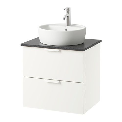 GODMORGON/ALDERN / TÖRNVIKEN Wsh-stnd w countertop 45 wsh-basin - white, 62x49x74 cm, black stone effect - IKEA