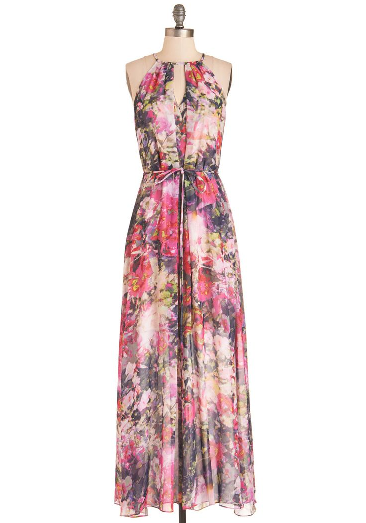 With Flying Watercolors Dress - Multi, Pink, Floral, Print, Belted, Special Occasion, Prom, Wedding, Daytime Party, Bridesmaid, Valentine's, Maxi