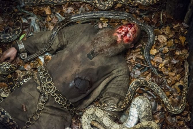 History's 'Vikings,' Season 4, Part 2, Episode 15, Ragnar Lothbrok in the snake pit