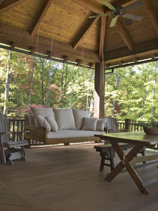 Wants a bedswing...  Porch Rustic Benches In The Garden Design, Pictures, Remodel, Decor and Ideas - page 4