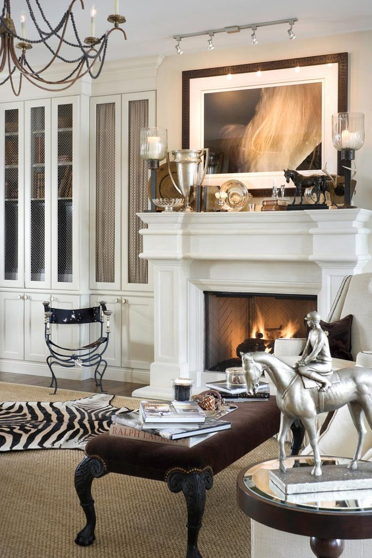 equestrian living room tribout interior design zebra fireplace silver 10511