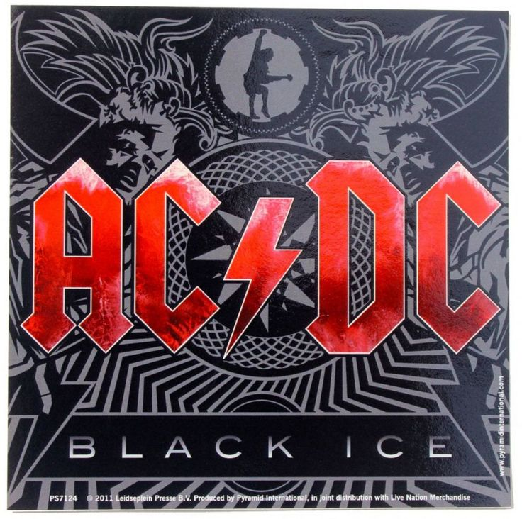 Official AC DC vinyl sticker measuring approx 95mm x 95mm featuring artwork based on the 2008 album Black Ice Officially Licensed Merchandise See All