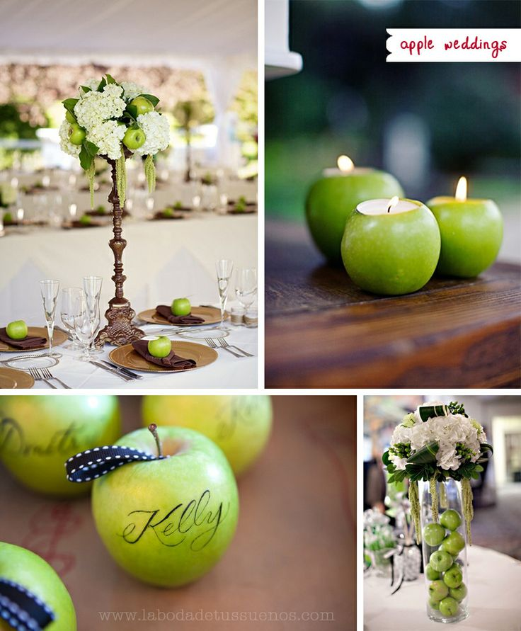 104 best green apple party ideas images on pinterest table da a tu boda un toque diferente decorando con manzanas apple weddings inspiration junglespirit
