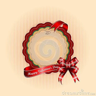 Vintage Happy Valentine's Day background with Happy Valentine's Day text on ribbon
