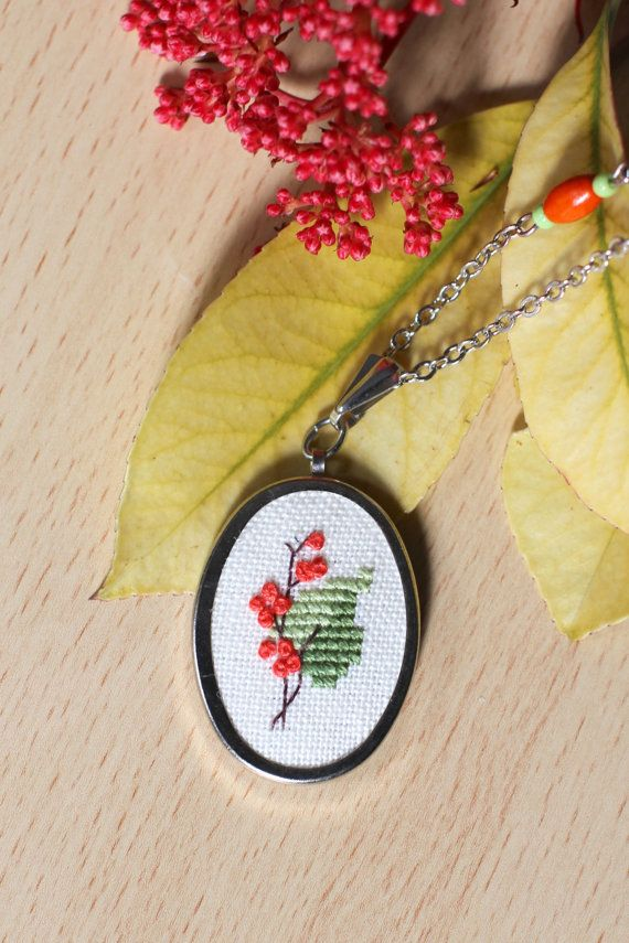 Tree branch in blossom necklace Embroidered necklace by byKALYNKA
