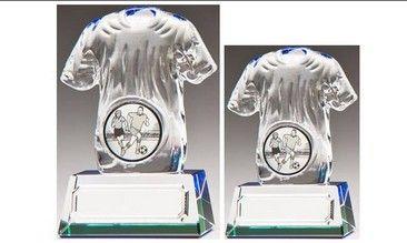 3D Glass Football Shirt #Trophy on integral base
