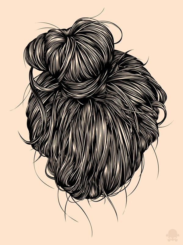 Hair study by Gerrel Saunders, via Behance. Print out and put on good sized canvas, hang in bathroom :)