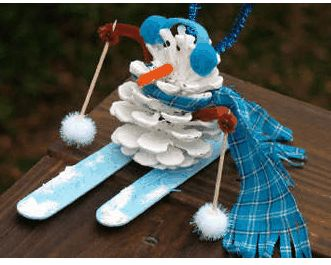 Pinecone Snowman Supplies: Pinecone White and black paint and your favorite color for the skis Brown, blue (or whichever color you want for your earmuffs) and orange pipe cleaners 2 pom poms for hat and 2 for skis Felt or fabric remnant for scarf 2 toothpicks 2 popsicle sticks Hot glue