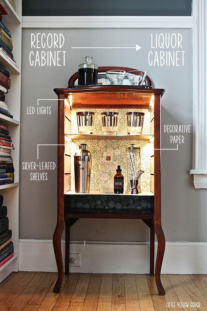 Vintage record cabinet turned liquor cabinet - so creative!