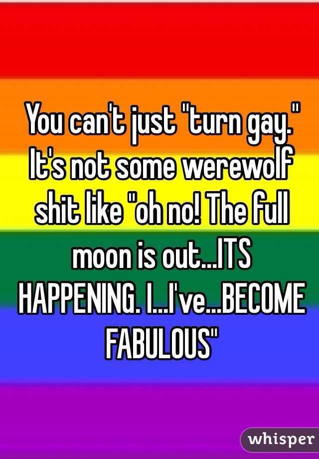 """""""You can't just """"turn gay."""" It's not some werewolf shit like """"oh no! The full moon is out...ITS HAPPENING. I...I've...BECOME FABULOUS"""""""""""