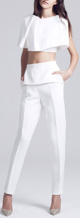 maticevski spring/summer 2015 all white trousers and top. women fashion outfit clothing style apparel @roressclothes closet ideas