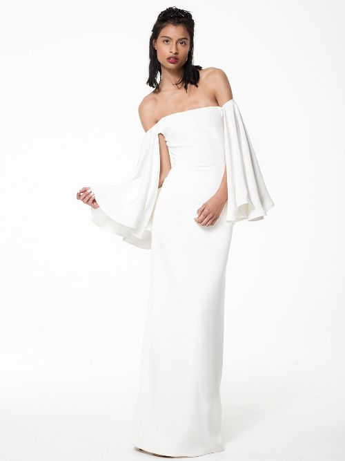 Off Shoulder Crepe Wedding Gown Houghton Dress Perfect For The Bohemian Bride